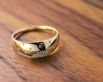 Gold wedding band, 14k gold band, Diamond band, Diamond wedding band, Yellow gold diamond band, 14k yellow gold band, Gold diamond band