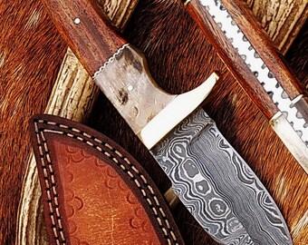 100%  handmade damascus hunting knife
