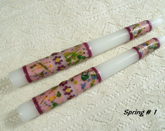 Splattered spring, beeswax motif taper candles ( four different styles )