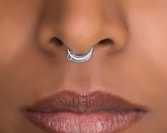 Tribal Septum Ring For Pierced Nose. Septum Piercing. Silver Septum Ring. Tribal Septum Ring. Septum Jewelry