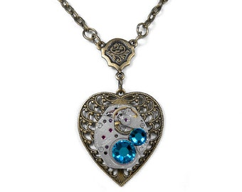 Steampunk Necklace Vintage Watch Brass Filigree Victorian HEART Turquoise Crystals Women Wedding Holiday Bridesmaids - Steampunk Boutique