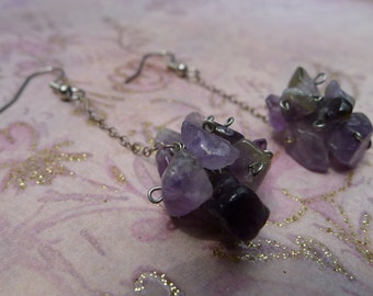 Amethyst Chip Cluster Silver Dangle-Lainey