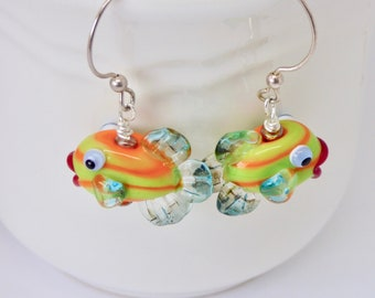 Colorful Fish Earrings, Lampwork Fish Jewelry, Fun Summer Boho Art Jewelry, Orange and Yellow Statement Earrings, One of a Kind, Gift