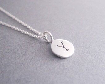 Sterling Silver Initial Y Necklace, Initial Y Charm Necklace, Initial Jewely, Y Necklace