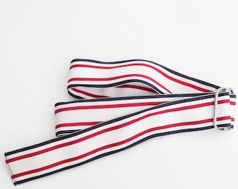 Vintage White and Blue Belt / Vintage Accessories / Adjustable Braided Belt / White Woven Belt / Vegan Belt