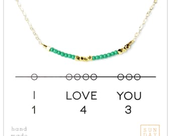 I Love You Gift,  Secret Code Necklace, mother gift from daughter, Mother's day gift,  Emerald, minimal jewelry, beaded
