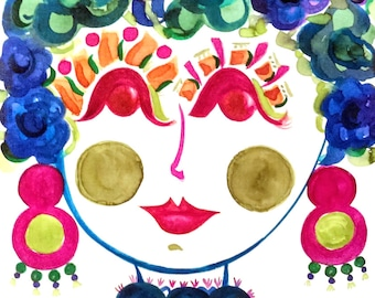 Morning Glory! Portrait of  Flower Girl - Carmen Miranda Inspired Face - Print from Original Watercolor Painting by Suzanne MacCrone Rogers