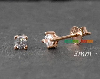 3mm 4mm 5mm 6mm Round Cubic Zirconia Studs Earrings Rose Gold Plated .925 Sterling Silver Womens Girls Kids Childrens Trendy Earrings