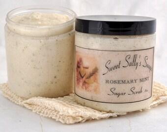 Rosemary Mint Sugar Scrub, 8oz Emulsified Organic Sugar