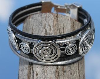 multistrand  Spiral leather Bracelet
