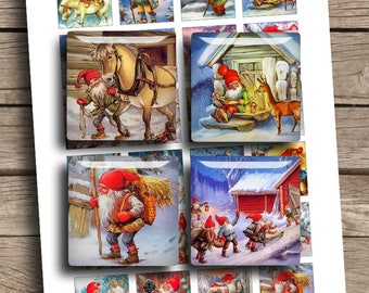 """Christmas Vintage Dwarfs 1x1"""" 1.5x1.5"""" inch Printable square images for Jewelry making Magnets Digital Collage Sheet - Instant Download"""