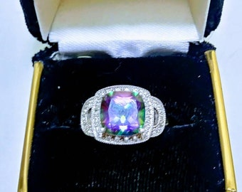 Beautiful  Mystic Rainbow Topaz Sterling Silver Ring