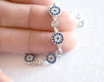 Blue Evil Eye Sapphire Crystal Sterling Silver Bracelet