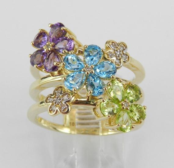 Yellow Gold Multi Color Gemstone Diamond Flower Cluster Ring Size 7 Blue Topaz Peridot Amethyst