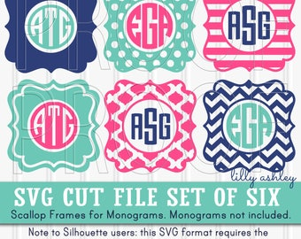 Monogram SVG Files Set of 6 cutting files SVG/PNG/jpg formats Commercial use ok! chevron svg frame scallop monogram {monograms not included}