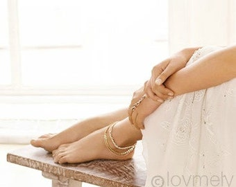 LOVMELY ANKLET- triple chain white, Coral, or turquoise anklet 22k gold wire wrapped