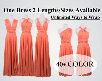 Bridesmaid dress coral long infinity dress short convertible bridesmaid dress infinity dress long maxi dress wedding dress coral dress