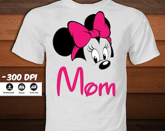 Disney Minnie Mouse Shirt-Mom Minnie Mouse Iron on Transfer T-Shirt-Minnie mouse birthday decoration party-INSTANT DIGITAL DOWNLOAD
