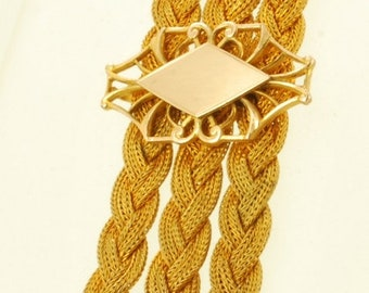 "4"" vintage yellow gold (filled) braided-mesh ribbon-style pocket watch chain with a matching art-deco style stamp fob"