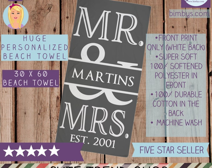 Mr. and Mrs. Personalized Beach Towel in Gray and White - Personalized Wedding Towels - Custom Last Name Beach Towel - Wedding Beach towel