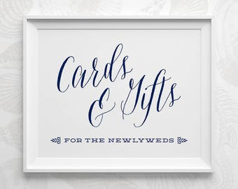 PRINTABLE Wedding Signs, Nautical Wedding Cards and Gifts Sign, Gift Table Sign, Navy Wedding Reception Card Sign Instant Download WS1NP