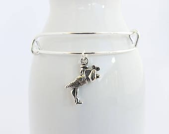 Stork and baby charm on a silver plated  bangle  bracelet - mother - child - baby - birth - baby shower