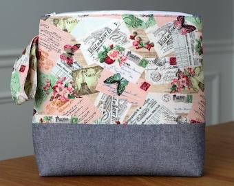 Knitting Tote - Crochet Project Bag - Knitting Project Bag - Yarn Bag - Craft Bag - Vintage Postcard Design