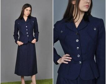 1940s Navy Linen Peplum skirt suit | vintage 1940s suit | navy 1940s linen skirt suit