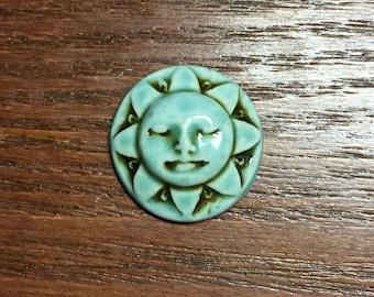 Sunshine Face Ceramic Cabochon Stone in Seafoam