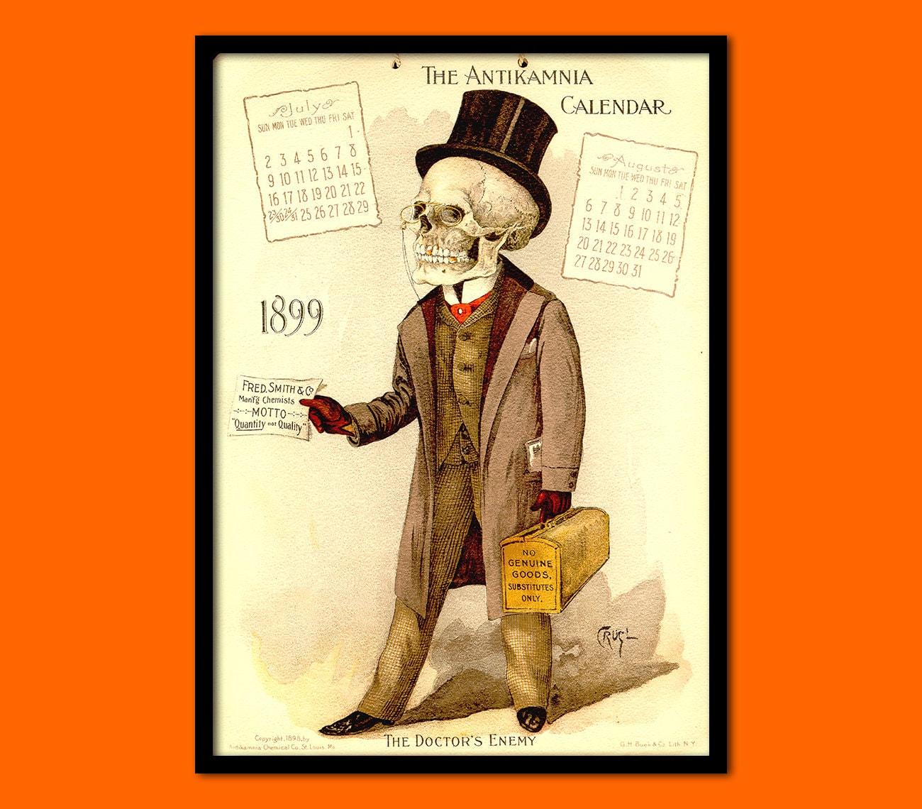 Antikamnia Calendar 1889 Skeleton Medical Decor Anatomical