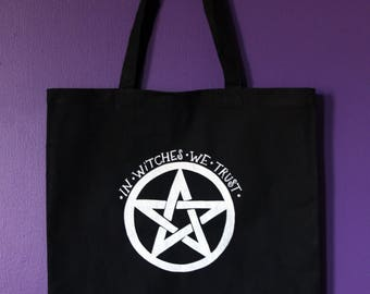 In Witches We Trust Tote in Black