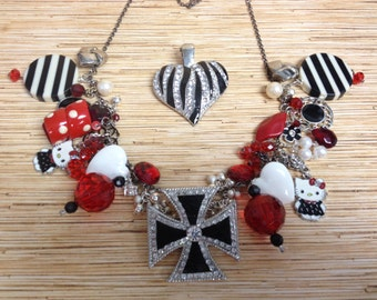 Recycled/Upcycled Charm Statement  Necklace