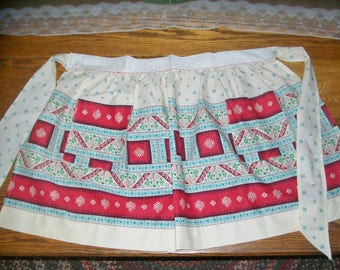 Vintage Apron Red Aqua Ivory Half Apron Cotton Folk Art Floral Designs Pockets