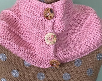 Pink button-front cowl neckwarmer