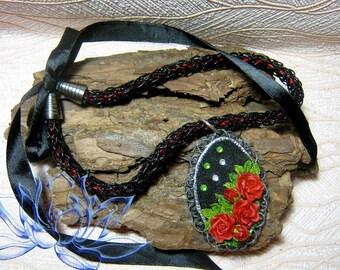 choker,porcelain pendant,flowers pendant,pendant roses,handmade necklaces,handmade pendant,black-red necklace,red roses,pendant made of clay