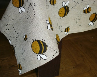 Linen tablecloth with Bees, 55x55 or 55x65, 50x70 inches, tablecloth with bees print, custom size, cottage decor