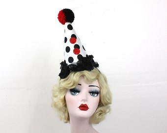 Red and Black Clown Hat - Birthday Party Hat - Halloween Costume - Larger Size - Black and White Polka Dots