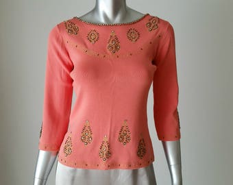 90s Vintage Joseph A. Sweater | Salmon Pink | Embellished Top | Vintage Sweater Small | XS Vintage | Three Quarter Sleeves | Evening  Top |