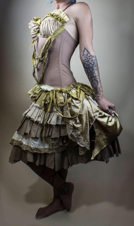 Gold and Cream Tea Length Ruffled skirt