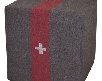 Swiss Army Blanket (circa 1940s) as Ottoman, Footstool, Pouf, Seat