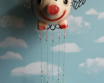 Flying Pig, When Pigs Fly Windchime with Stained Glass Chimes Vintage Piggy Bank Upcycled
