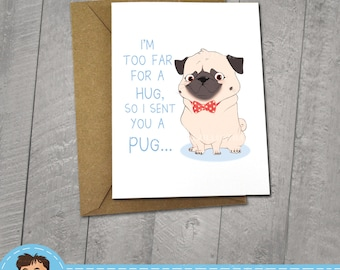 I miss You Pug Card,  Approximately 5 x 7 Blank Card with Kraft Envelope, Animal and Dog Illustration, Red and Yellow color Theme, Love Card