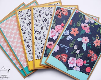 Butterfly Note Cards | Spring Note cards | Note cards Handmade | Floral Note Cards | Note Cards Set | Handmade Cards | Butterflies | Zion