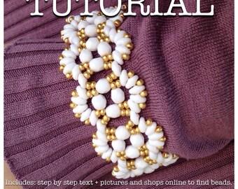 Superduo bead pattern beadweaving tutorial glass beads czech glass beads jewelry tutorial. Abanicos.