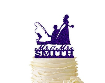 Glitter Bride Dragging Groom - Fishing Groom - With Last Name - Wedding - Anniversary - Fishing Cake Topper -  122