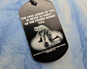 Soldier Deployment Military Deployment Picture On Dog Tag with Personal Message on Back -