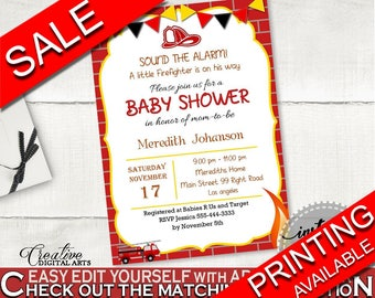 Invitation Baby Shower Invitation Fireman Baby Shower Invitation Red Yellow Baby Shower Fireman Invitation printable party supplies LUWX6