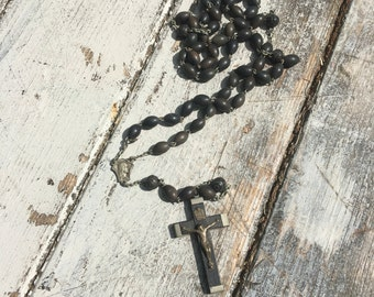 Ebony and silver rosary necklace ! 1930s