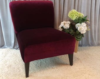 Slipcover Cranberry Velvet Stretch Chair Cover For Armless Chair, Slipper  Chair, Accent Chair,