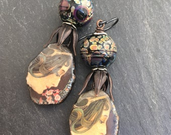 Garden Ladies, Artisan Lampwork, Artisan Ceramic Earrings, Flower Earrings, Spring Fashion, Mother's Day Gift, Handmade Jewelry